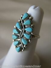 Vintage Signed STERLING Silver Turquoise ZUNI Signed RH Needlepoint Ring 6 1/2