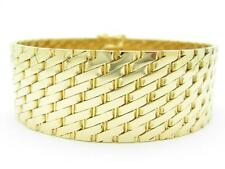 18k Solid Yellow Gold Wide Link Design Vintage Estate Soft Bangle Bracelet Gift