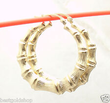 "1 3/8"" 35mm Graduated Bamboo Hoop Earrings REAL 10K Yellow Gold 4.20 gr"