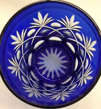 "4"" COBALT BLUE CUT TO CLEAR GLASS TUMBLER/ JAR"