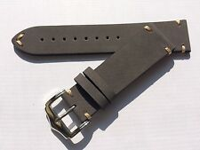 22mm Handmade Soft Genuine Leather watch band strap fit 22mm watch case lug GRY