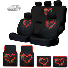 NEW RED HEART DESIGN FRONT AND REAR CAR SEAT COVERS FLOOR MATS SET FOR TOYOTA
