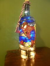 Spiderman Inspiered Hand Painted Lighted Wine Bottle Stained Glass look