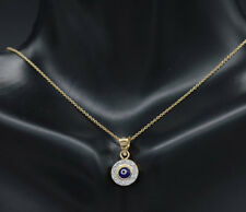 PM201 14K Solid Yellow Gold BLUE Evil Eye Round Pendant Good Luck Charm