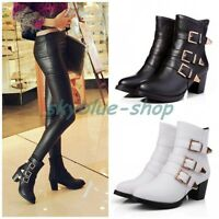 Ladies Gothic Round Toe Buckle Strap Block Mid Heels Punk Shoes Ankle Boots Size