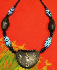 Chunky Necklace hand made in the Gambia. Black and blue Glass Wood