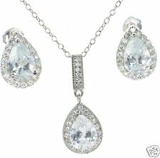 Solid 925 Sterling Silver CZ Teardrop Necklace and Stud Earrings Set '