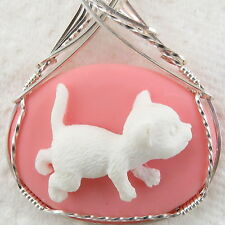 Crawling Kitten Cat Cameo Pendant .925 Sterling Silver Jewelry Pink Resin