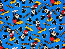 DISNEY MICKEY MOUSE ALLOVER  100% COTTON FABRIC  SPRINGS CREATIVE  BLUE  YARDAGE