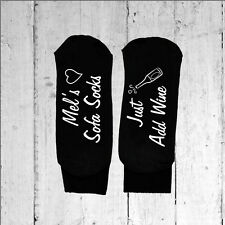 Personalised Sofa Socks Just Add Wine - Text Printed on the Sole sizes 3-8