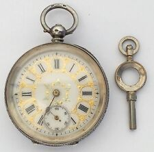 Woman's Pocket Watch Sterling Silver - With Key - 12 Hour Roman Numeral Dial