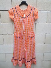 ROBE VINTAGE MAIX made in France orange longue années 70 dress 70er 40