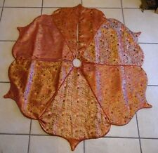 48 IN Burgundy & Gold Paisley Scalloped Lined TREE SKIRT CHRISTMAS DECORATION