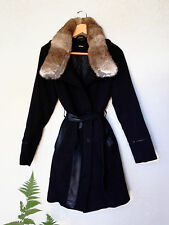 RUDSAK Black Leather Belted Rabbit Fur Collar Trench Parka Coat Jacket M 8 10