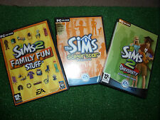 3 x PC CD ROM i Sims 2 II EXPANSION PACK University Famiglia Divertente & SUPERSTAR