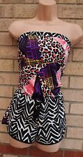 RIVER ISLAND LEOPARD TRIBAL ZEBRA MULTI COLOR SILKY BANDEAU PLAYSUIT S 8 10