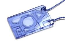 LALIQUE LETTER BLOCK PURPLISH BLUE CRYSTAL NECKLACE PENDANT WITH ORIGINAL POUCH