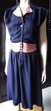 Vintage Bi-Colour Navy Blue and Pink 1940s Day Dress S/M