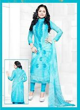 Blue Ladies Salwar Kameez Cotton Embroidered Indian Suit D.No V9164