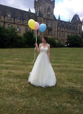 Chiffon tulle ivory princess gown with sweetheart neckline full skirt UK 6 - 8