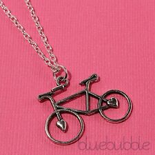 FUNKY SILVER BICYCLE NECKLACE CUTE SPORT BIKE RETRO KITSCH COOL NOVELTY GIFT