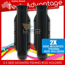 2 X BLACK BOAT FLUTED STREAM LINE SIDE MOUNTED VERTICAL FISHING ROD HOLDERS