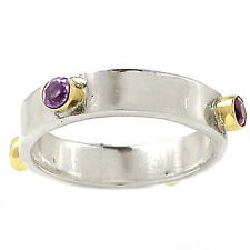 Two Tone - Amethyst 925 Sterling Silver Ring Jewelry s.8 SR215775
