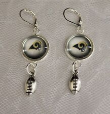 St. Louis Rams Earrings w/ Football Charm Upcycled from Football Cards Handmade