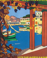 SUMMER ON THE COTE D'AZUR FRANCE TRAVEL 8 X 10 VINT POSTER REPRO FREE SHIPPING