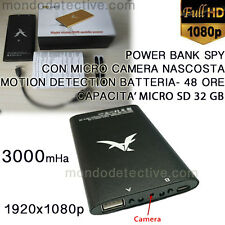 MICROCAMERA MOTION DETECTION HD CAMERA TELECAMERA SPY POWER BANK SPIA INFRAROSSI