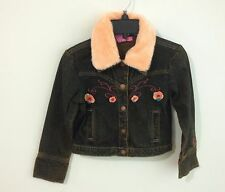 Betsey Johnson Dark Wash Denim Jacket w/Removeable Peach Faux Fur Collar Size 6X