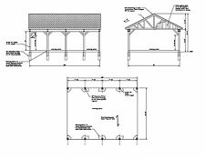 22'x30' COVERED PAVILION CAR PORT RV PORT 30'X22' PLAN #O2230GBL-01 22X30  30X22