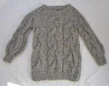 H&M Chunky Cable Knit Alpaca Wool Blend Heavy Weight Marled B&W Sweater ~ Size 4
