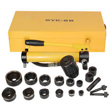 10 Ton 6 Die Hydraulic Knockout Punch Driver Kit Hole Hand Tool Conduit 1/2