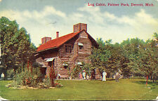 1911 Postcard Log Cabin Palmer Park Detroit Michigan