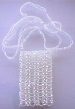 WHITE FACETED ACRYLIC LUCITE AB BEADED BAG SMALL PURSE HANDBAG CELL PHONE  AB5