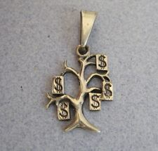 Mexican 925 Silver Good Luck MONEY TREE  Etched Oxidized Charm Pendant Taxco New