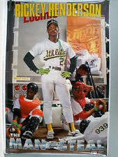 RARE RICKEY HENDERSON A'S MAN OF STEAL 1991 VINTAGE ORIGINAL COSTACOS POSTER