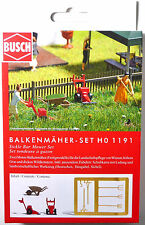 H0 BUSCH 2 Balkenmäher Schubkarre Sichel Heugabel Heurechen Harke Garten # 1191
