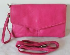 Pink Italian Leather Foldover Clutch Cross Body Bag with Detachable Straps