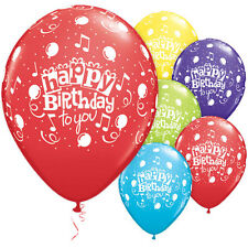 """Happy Birthday to You"" Latex Balloons, Qualatex Party Decor, 11"" w/ Music Notes"