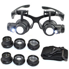 10/15/20/25 x LED Magnifier Double Eye Glasses Loupe Lens Jeweler Watch Repair