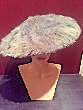 Christian Dior New Look Vintage Dramatic Dish Hat Plush Grey Swirl Pleat Brim