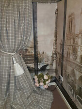 "Made To Measure 58""W112""D Natural Check 100% Linen Blackout Lined Bay Curtains"