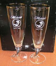 MICHELOB Beer Glass Set of 2 Silver Rim Ritzenhoff Pint .4L NEW