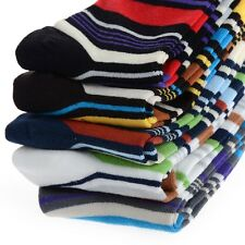 5 Pairs Men's Designer Fashion Dress Socks Casual Striped Style Multi Color Lot