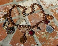VINTAGE COPPER & BRASS MILAGRO CROSS BEAD NECKLACE HAND MADE MEXICO FREE SHIP