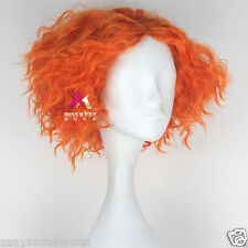 Alice Mad Hatter Party Hair Short Curly Orange Red Color Men Movie Cosplay Wig