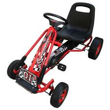 Kids Childrens Ride On Pedal Powered Racing Go Kart Bike Braking System - Red