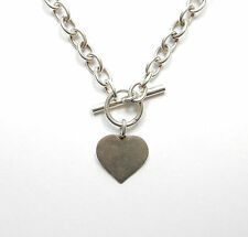 Modern 925 Silver LOVE HEART & T BAR FRIENDSHIP BELCHER NECKLACE CHAIN 29.4g 16""